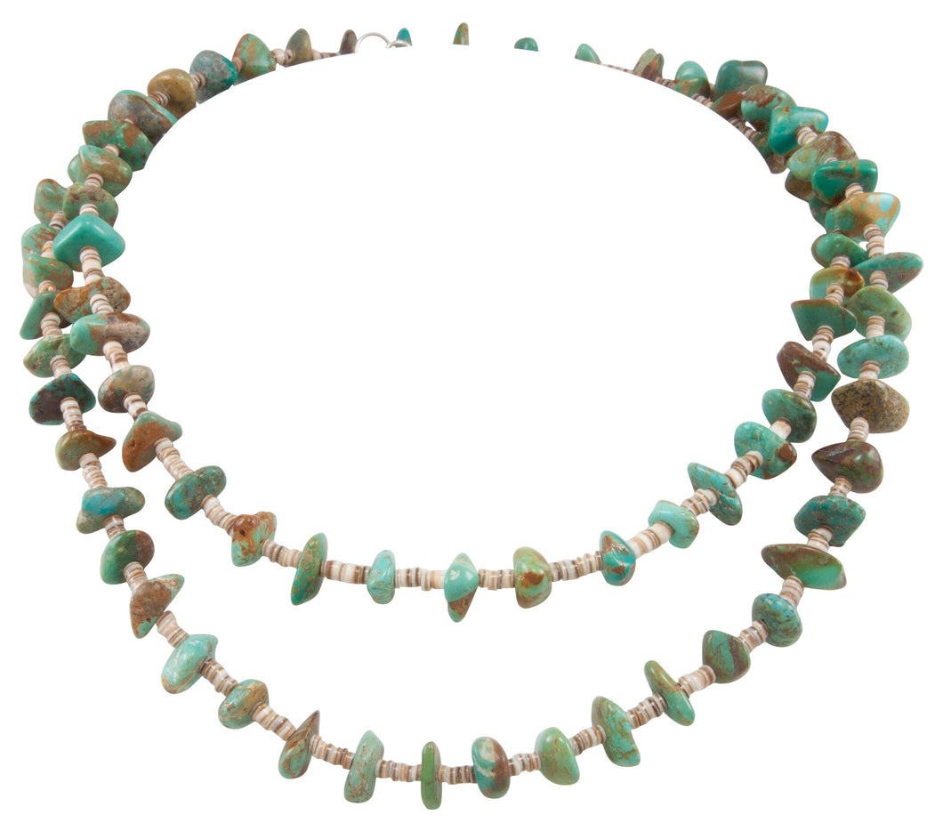 Santo Domingo Kewa Pueblo Royston Turquoise and Pen Shell Heishi Nugget Necklace by Betty Rodriquez SKU231207