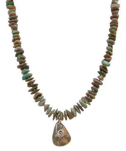 Santo Domingo Kewa Pueblo Royston Mine Turquoise Nugget Necklace by Betty Rodriquez SKU231209