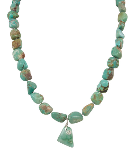 Santo Domingo Kewa Pueblo Turquoise Mountain Mine Nugget Necklace by Betty Rodriquez SKU231210