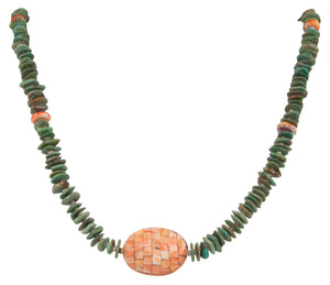 Santo Domingo Kewa Pueblo Turquoise Nugget and Spiny Oyster Overlay Necklace by Betty Rodriquez SKU231214
