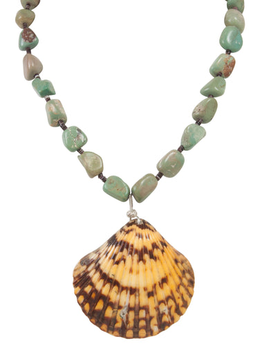Santo Domingo Kewa Pueblo Royston Nugget Turquoise and Shell Necklace by Betty Rodriquez SKU231215