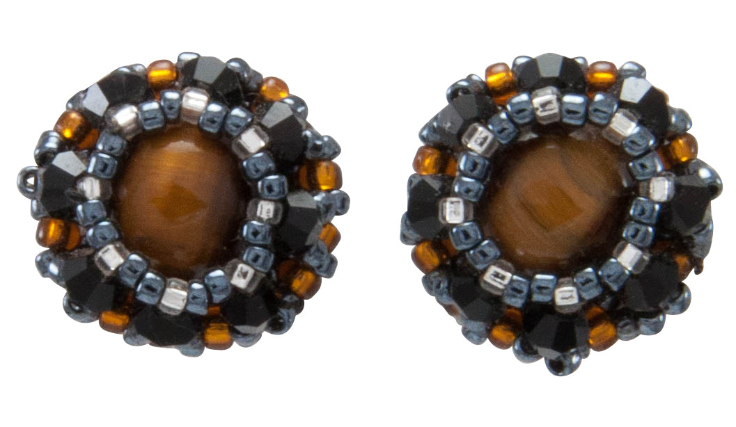 Navajo Native American Tiger Eye and Seed Bead Earrings by Charlotte Begay SKU231217