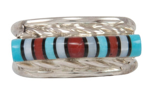 Zuni Native American Turquoise, Jet and Shell Inlay Ring Size 6 SKU231221