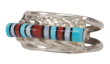 Load image into Gallery viewer, Zuni Native American Turquoise, Jet and Shell Inlay Ring Size 6 SKU231221