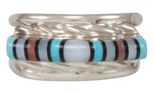 Load image into Gallery viewer, Zuni Native American Turquoise, Jet and Shell Inlay Ring Size 6 1/4 SKU231222