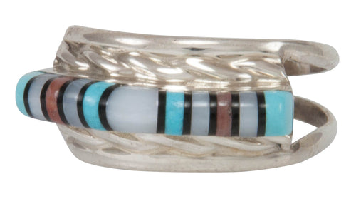 Zuni Native American Turquoise, Jet and Shell Inlay Ring Size 6 1/4 SKU231222