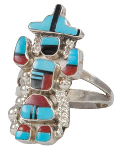 Zuni Native American Turquoise Inlay Kachina Ring Size 6 1/2 SKU231230