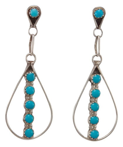 Zuni Native American Sleeping Beauty Turquoise Earrings by Allopowa SKU231245