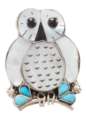 Zuni Native American Turquoise and Shell Owl Pin and Pendant by Kallestewa SKU231269