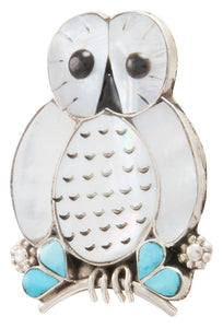 Zuni Native American Turquoise and Shell Owl Pin and Pendant by Kallestewa SKU231270