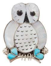 Load image into Gallery viewer, Zuni Native American Turquoise and Shell Owl Pin and Pendant by Kallestewa SKU231270