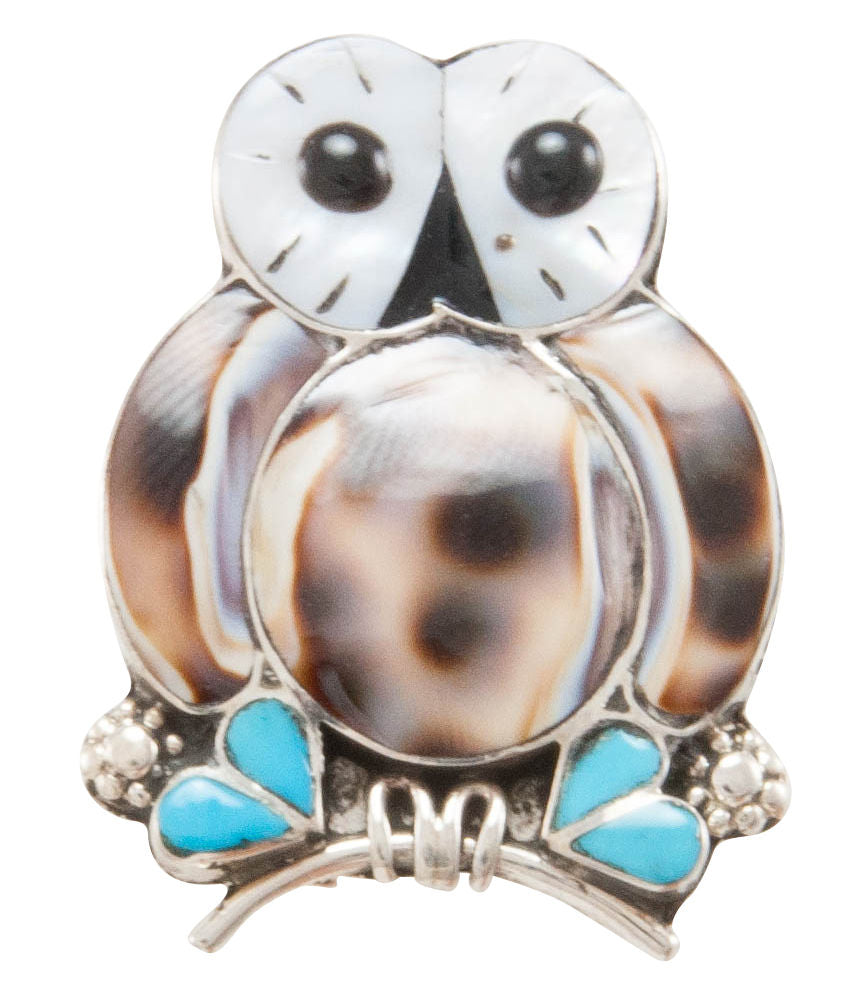 Zuni Native American Turquoise and Shell Owl Pin and Pendant by Kallestewa SKU231272