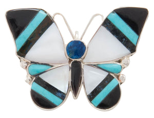 Zuni Native American Turquoise Inlay Butterfly Pin and Pendant by Angus Ahiyite SKU231280