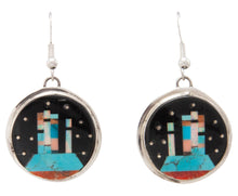 Load image into Gallery viewer, Navajo Native American Turquoise Inlay Butte Earrings by Gilbert Smith SKU231325