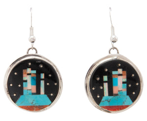 Navajo Native American Turquoise Inlay Butte Earrings by Gilbert Smith SKU231325