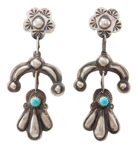 Navajo Native American Turquoise and Stamped Silver Earrings by Yazzie SKU231328