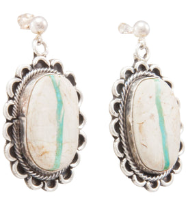 Navajo Native American Royston Ribbon Turquoise Earrings by Bahe SKU231331