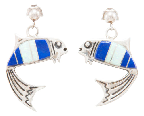 Navajo Native American Lapis and Created Opal Fish Earrings by Charley SKU231338