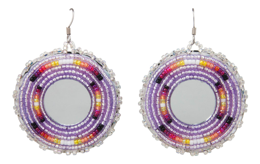 Navajo Native American Seed Bead and Mirror Earrings by JT Willie SKU231354