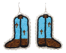 Load image into Gallery viewer, Navajo Native American Seed Bead Boot Earrings by Lena Jean SKU231356