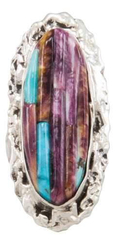 Navajo Native American Spiny Oyster and Turquoise Ring Size 5 3/4 by Clinton Pete SKU231361