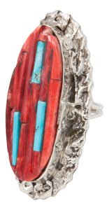 Navajo Native American Spiny Oyster and Turquoise Ring Size 6 1/4 by Clinton Pete SKU231362