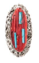 Load image into Gallery viewer, Navajo Native American Spiny Oyster and Turquoise Ring Size 6 1/4 by Clinton Pete SKU231362