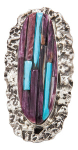 Navajo Native American Spiny Oyster and Turquoise Ring Size 7 3/4 by Clinton Pete SKU231364