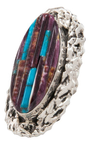 Navajo Native American Spiny Oyster and Turquoise Ring Size 8 by Clinton Pete SKU231365