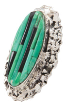 Load image into Gallery viewer, Navajo Native American Aventurine and Jet Ring Size 7 1/2 by Pete SKU231366