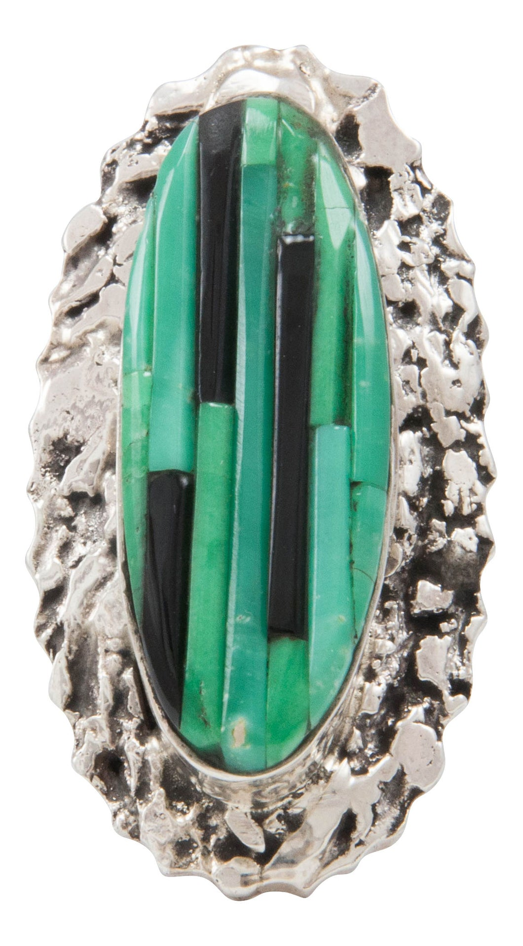 Navajo Native American Aventurine and Jet Ring Size 7 1/2 by Pete SKU231366