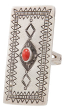 Load image into Gallery viewer, Navajo Native American Coral Ring Size 7 1/4 by Larry Castillo SKU231368