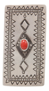 Navajo Native American Coral Ring Size 7 1/4 by Larry Castillo SKU231368