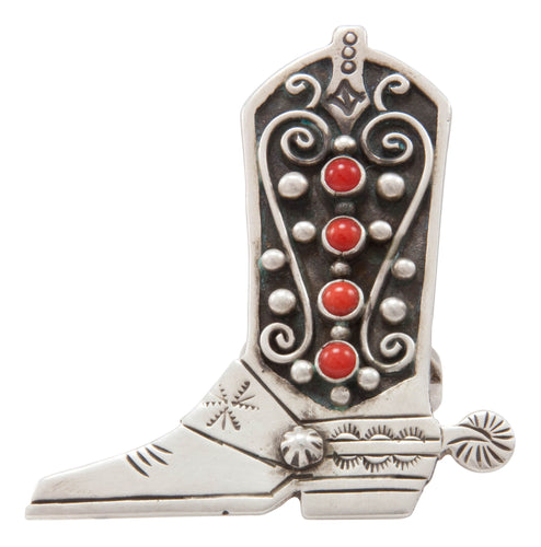 Navajo Native American Coral Boot Ring Size 8 1/2 by Charley SKU231370