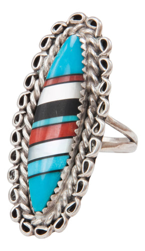 Navajo Native American Turquoise Inlay Dead Pawn Ring Size 7 SKU231372