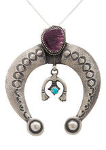 Load image into Gallery viewer, Navajo Native American Turquoise and Purple Shell Naja Pendant Necklace by Mike Charley SKU231375