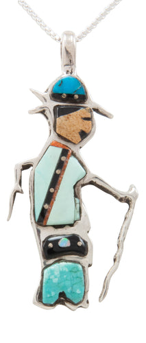 Navajo Native American Turquoise Inlay Pendant Necklace by Robert Chee SKU231381