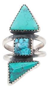 Navajo Native American Turquoise Ring Size 8 by Gilbert Tom SKU231386