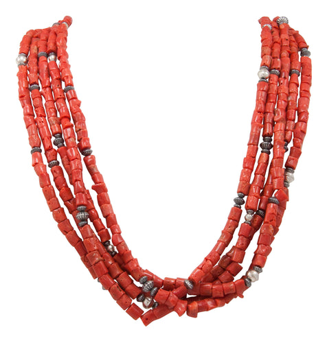 Navajo Native American Red Coral Necklace by Burbank and Livingston SKU231390
