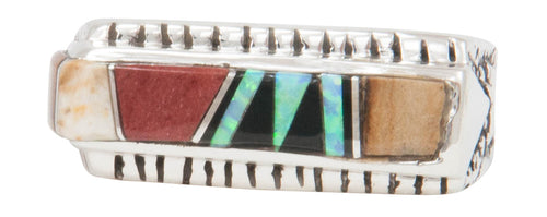 Navajo Native American Created Opal and Jet Inlay Ring Size 7 1/4 by Calvin Begay SKU231397