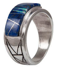 Load image into Gallery viewer, Navajo Native American Lapis and Created Opal Ring Size 12 1/4 by Calvin Begay SKU231399
