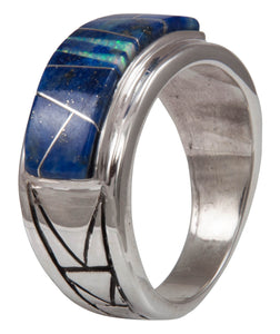 Navajo Native American Lapis and Created Opal Ring Size 12 1/4 by Calvin Begay SKU231399