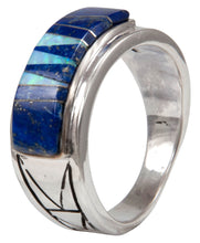 Load image into Gallery viewer, Navajo Native American Lapis and Created Opal Ring Size 13 1/2 by Calvin Begay SKU231401