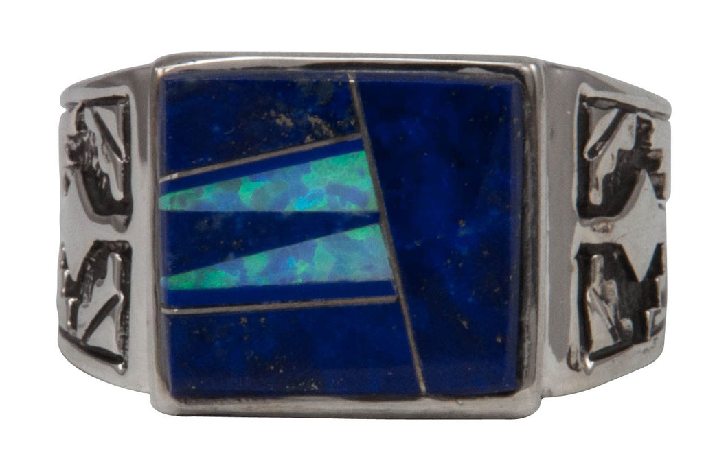 Navajo Native American Lapis and Created Opal Ring Size 12 1/4 by Calvin Begay SKU231402
