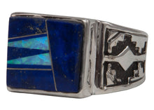 Load image into Gallery viewer, Navajo Native American Lapis and Created Opal Ring Size 12 1/4 by Calvin Begay SKU231402