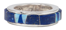 Load image into Gallery viewer, Navajo Native American Lapis and Created Opal Ring Size 5 1/4 by Calvin Begay SKU231403