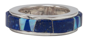 Navajo Native American Lapis and Created Opal Ring Size 5 1/4 by Calvin Begay SKU231403