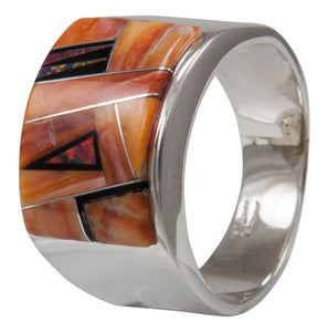Navajo Native American Orange Shell and Created Opal Ring Size 12 1/4 by Calvin Begay SKU231405