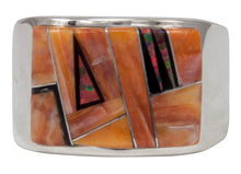 Load image into Gallery viewer, Navajo Native American Orange Shell and Created Opal Ring Size 12 1/4 by Calvin Begay SKU231405