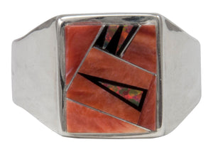 Navajo Native American Orange Shell and Created Opal Ring Size 12 1/4 by Calvin Begay SKU231407